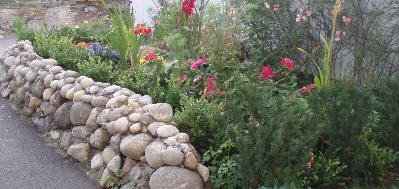 Liten hagemur med rullestein