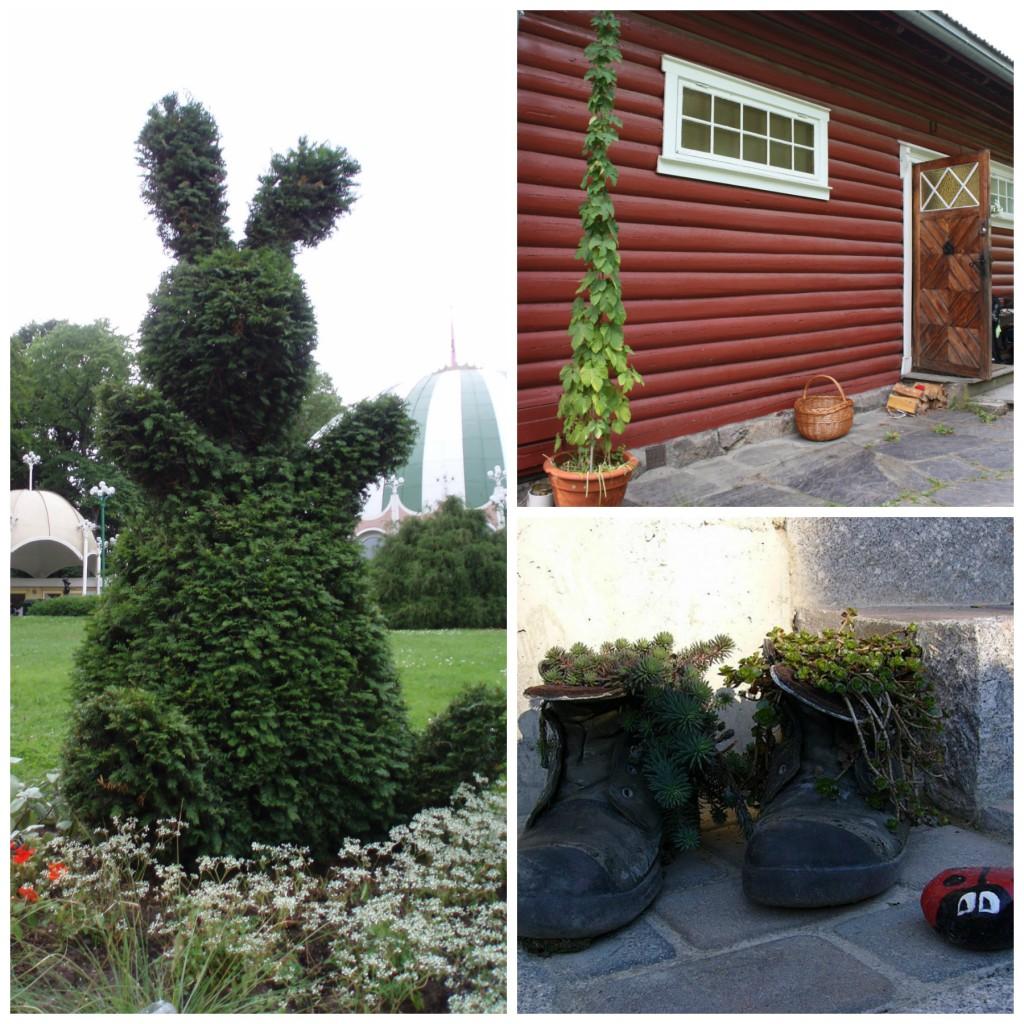Buksbom-kanin fra tivoli i Göteborg. Humle, marihøne og sko fra privat hage
